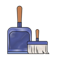 Dustpan and hand broom in colored crayon vector