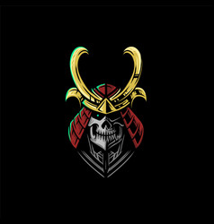 e sports team logo template with samurai head vector image