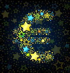 Euro sign cartoon star colored vector