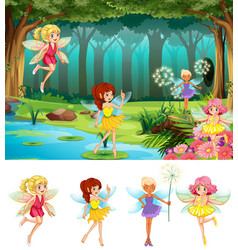 Fairy tale in forest vector