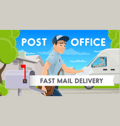 fast mail delivery postman with letter and car vector image