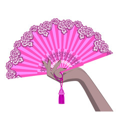Female hand with a pink open fan isolated on white vector