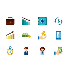 finance business icons set on white background vector image