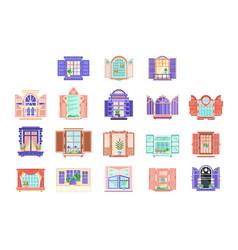 flat set wooden window frames with doors vector image