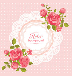 Flower card in retro style vector
