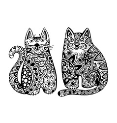 funny cats with floral ornament vector image