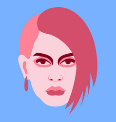 girl face flat style front vector image