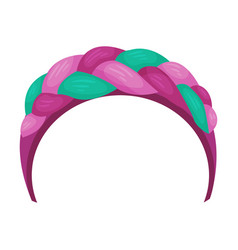 Girlish headband with braided ribbon for doing vector