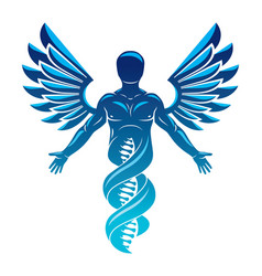 graphic of strong male made as dna strands vector image