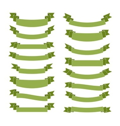 Green ribbon banners blank vector