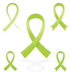 Green sign ribbon cancer symbol vector