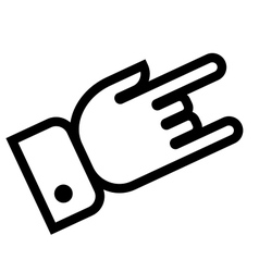 Hand showing rock outline icon vector image
