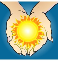 hands holding sun and giving it vector image