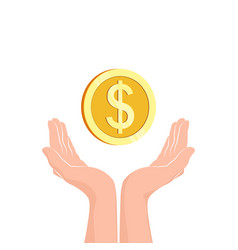 hands with money coin flat icon vector image