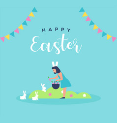 Happy easter card girl with spring rabbit vector