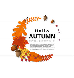 Hello autumn decorative wreath on wooden board vector