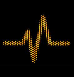 hexagon halftone pulse icon vector image