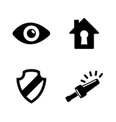 Home security simple related icons vector