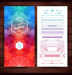 image of bright rectangular wedding invitation vector image