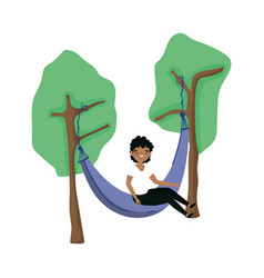 Isolated man in hammock design vector