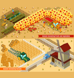 isometric farming horizontal banners vector image