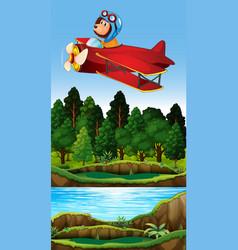 lion riding vintage plane vector image