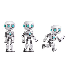 little cute modern android run stand robot vector image