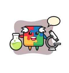 Mascot character puzzle as a scientist vector