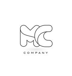 mc monogram letter logo with thin black monogram vector image