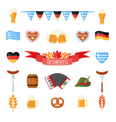 Oktoberfest beer festival icons set in flat style vector