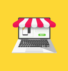 online shop concept with open laptop vector image