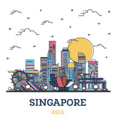 Outline singapore city skyline with colored vector