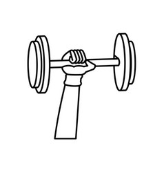 Outlined hand holding dumbbell weight fitness vector