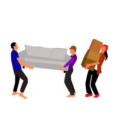 people carrying furniture vector image