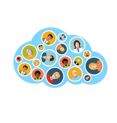 people flat avatars in blue cloud shape on white vector image