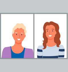Portrait view female characters cartoon style vector