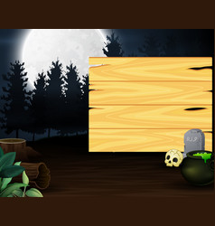 Potion in front of wooden board with full moon bac vector