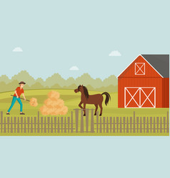 Rancher working in farmyard vector