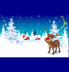Reindeer on a winter background greeting card vector