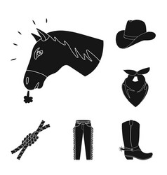 Rodeo competition black icons in set collection vector