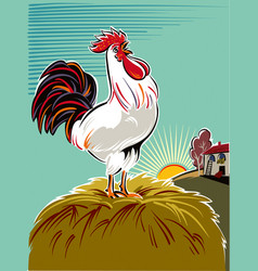 Rooster at dawn vector