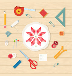 round hoop and set sewing accessories around vector image