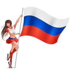 russian young beautiful woman holding flag fan vector image