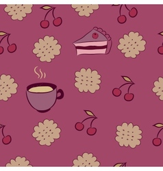 Seamless pattern with cakes cherry and coffee vector image