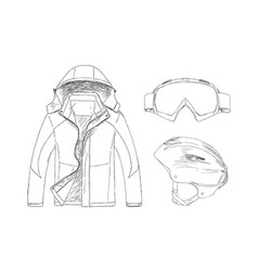 Set of clothing for sport in winter vector