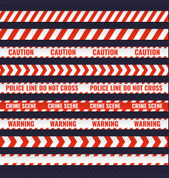Set of red and white seamless police lines vector