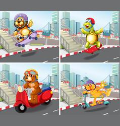 set of wild animals in urban background vector image