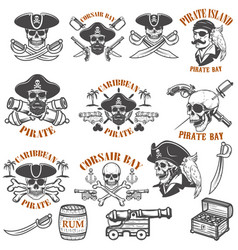 Set pirate emblems isolated on white vector