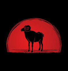 Sheep big horn ovis standing vector