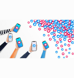 Social media marketing concept realistic hand vector
